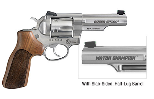 Ruger GP100 Match Champion Double-Action Revolver with Slab-sided, half-lug barrel