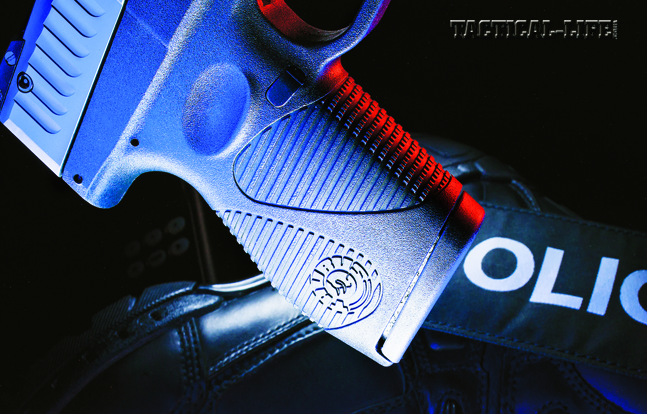 The polymer frame of the pistol features molded-in grooves that provide a sure gripping surface for better control without being abrasive.