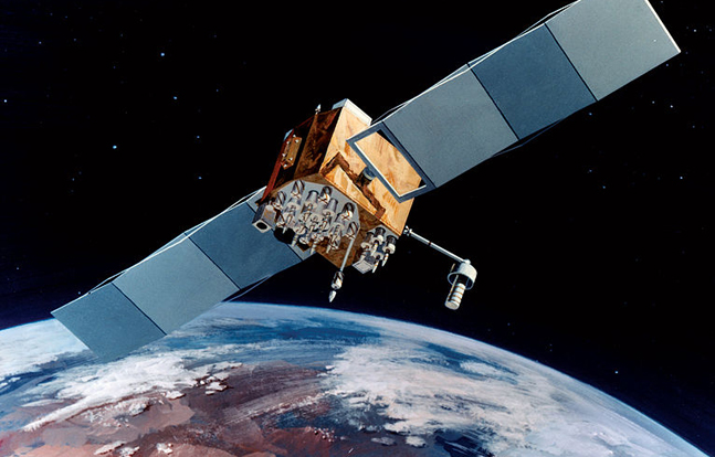Artist's impression of a Block IIF GPS satellite in orbit