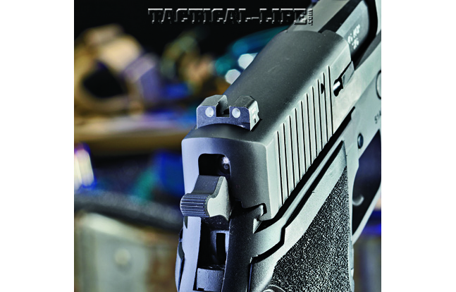 Sig Sauer's SIGLITE rear night sight ensures quick target acquisition in low-light settings and is drift adjustable for windage.