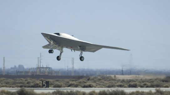 The Northrop Grumman X-47B will be placed on a U.S. Navy aircraft carrier to test operational capabilities in conjunction with a manned aircraft.
