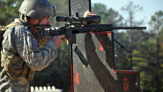 Sgt. Tyler Payne, U.S. Army Marksmanship Unit, teamed with Staff Sgt. Daniel Horner to win the 4th Annual Mammoth Sniper Challenge held at Rockcastle Shooting Center in Park City, Kentucky. The USAMU teammates are both members of the unit's Action Shooting team. (File Photo by Michael Molinaro, USAMU)
