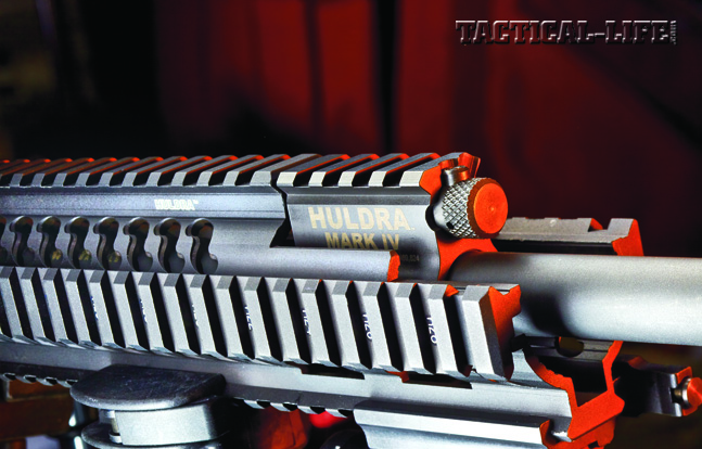 Operators can adjust the Tactical Elite's Adams Arms gas piston system with the knob above the barrel, just forward of the gas block.
