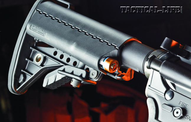 The Tactical Elite features a collapsible Vltor IMod stock, which features two battery tube compartments.
