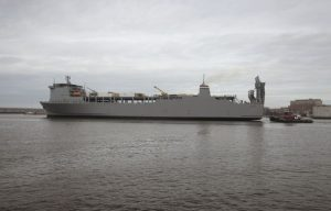 U.S. Military container ship MV Cape Ray will remain indefinitely in Rota, Spain until Syria surrenders the remainder of its chemical weapons stockpile, the Pentagon has announced.