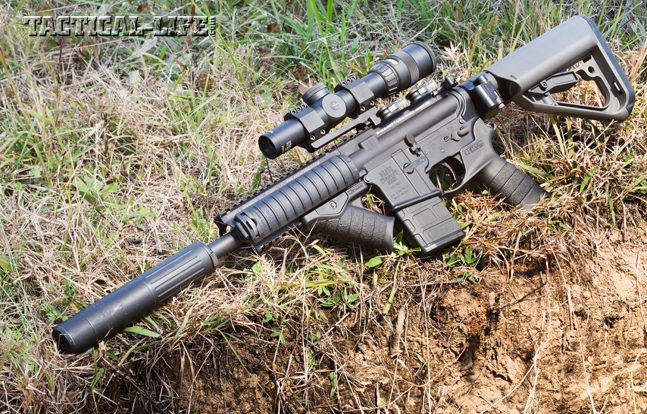 "The author's favorite truck gun, an AAC MPW upper on a Bravo Company lower, served equally well as a ""chopper cropper"" when called into service to eradicate feral Texas hogs bent on decimating local crops. The rig's Trijicon 1-4x24 AccuPoint scope was quick to get on target."