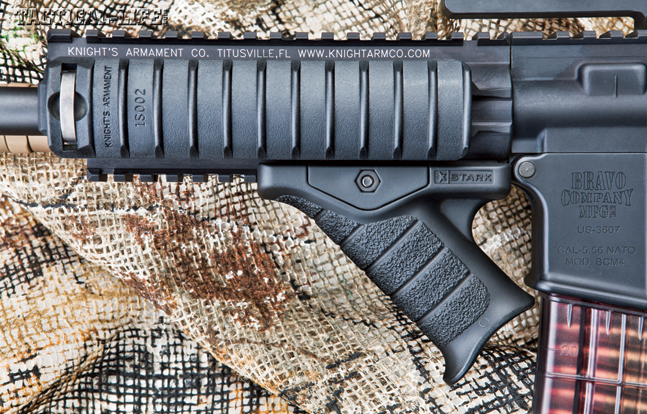 A Stark Equipment Corp SE-5 Express Grip attached to the URX III handguard at its rear-most position still allows quick magazine changes and fits well into this rig's overall compact profile.