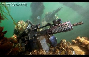 The German Navy's Kampfschwimmer, or combat swimmers, favor the Heckler & Koch G36K in 5.56mm NATO, which is the carbine variant of the standard G36. Germany's Kampfschwimmer are an elite special warfare element similar to the U.S. Navy SEALs.