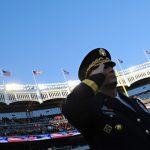 Chief of Staff of the Army General Raymond T. Odierno salutes during the playing of the national anthem prior to the Army versus Rutgers game at Yankee Stadium in November 2011.