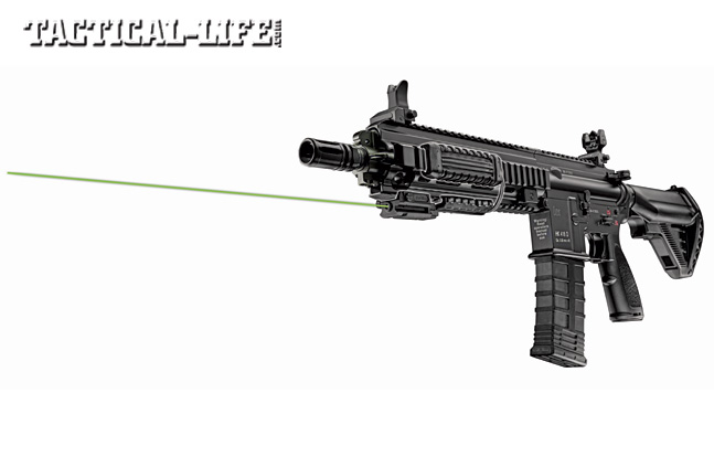 LaserMax's Uni-IR infrared laser is only visible to operators equipped with night vision. It can be mounted on any rail-equipped weapon and used with a Manta Rail pressure switch.