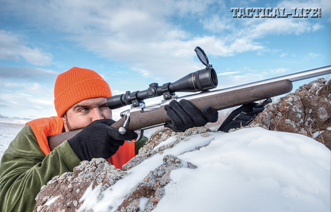 The Nesika Sporter's bolt handle is longer than normal and doesn't hug the stock to the degree than many actions do, providing more cocking leverage and making it easier to get off a rapid follow-up shot from the shoulder. Shown with a Leupold 4.5-14X VX-3.
