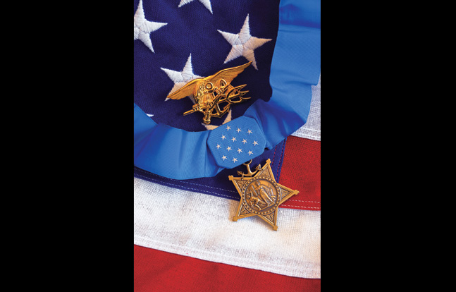 The U.S. Navy SEAL trident shown with the Medal of Honor—one of our nation's bravest warrior traditions with its highest honor.