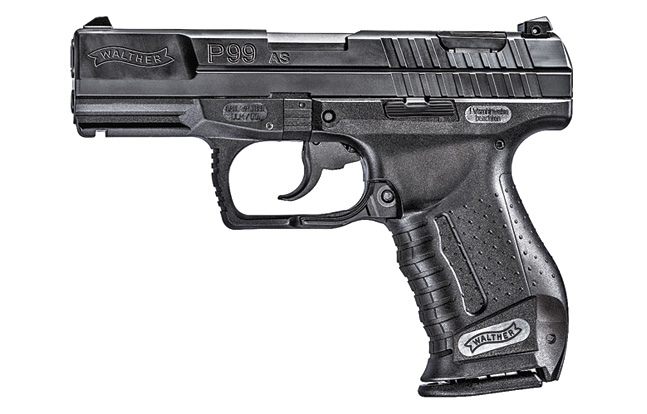 Ready for today's missions, the Walther P99 AS has a snag-free design with wide rear slide serrations, an ergonomic grip, a squared triggerguard and a rail for mounting accessories.