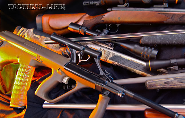 A few excellent southpaw-friendly firearms include the (counterclockwise from top) Stag Arms Model 3TL-M, Weatherby Mark V Accumark, Ruger Gunsite Scout, Montana Rifle Company AVR-SS, Steyr AUG, Thompson/Center Pro Predator and the Remington 700 CDL.