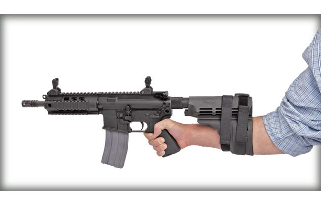 The ATF says firing an AR-15 pistol from the shoulder using a product such as the SIG Sauer SB15 Pistol Stabilizing Brace (pictured) will not cause the weapon to be reclassified as a Short Barreled Rifle (SBR)