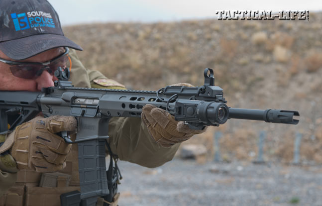 Barrett shipped the grey test carbine with Precision Reflex's front and rear backup sights, which are quick to get into action. Note the front sight's full-circle hood.