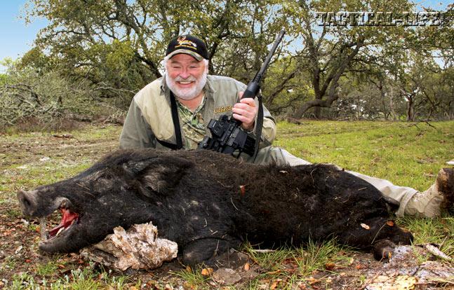 Towsley shot this hog with Remington's new .450 Bushmaster Hog Hammer ammo.