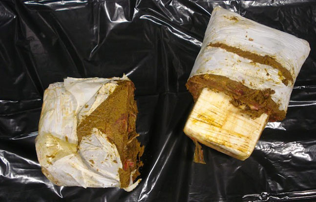 7.35 pounds of cocaine was found inside frozen meat that a passenger allegedly had in his luggage.