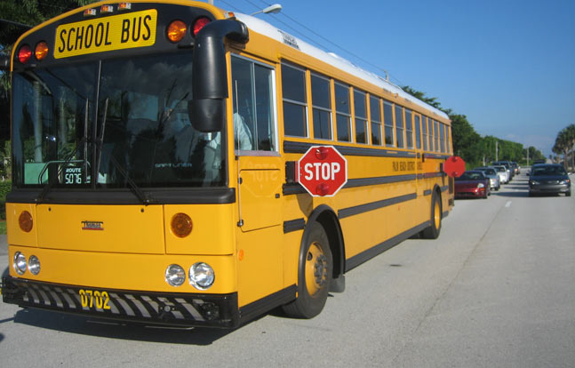 Drivers caught passing a stopped school bus face a $400 fine and five points on their license.