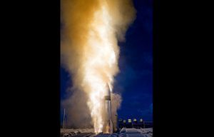 The first Standard Missile-3 in a double shot missile defense test rockets skyward to strike out a ballistic missile target off the coast of Kauai, Hawaii. (Photo: Missile Defense Agency)