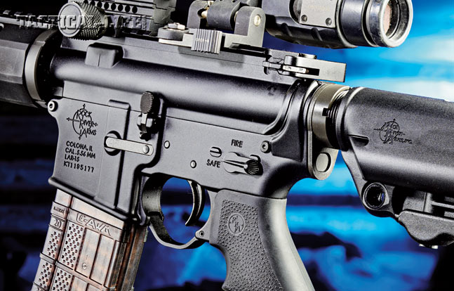 The Operator III's controls are in standard AR locations, with the safety and bolt release on the left side and the mag release on the right.