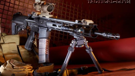 A collaboration between Smith & Wesson and Kyle Lamb of Viking Tactics, the VTAC II 5.56mm carbine is ready to handle any threat that may arise right out of the box. Shown with a Trijicon ACOG, Troy Battle Sights, a SureFire Scout light and an Atlas bipod.