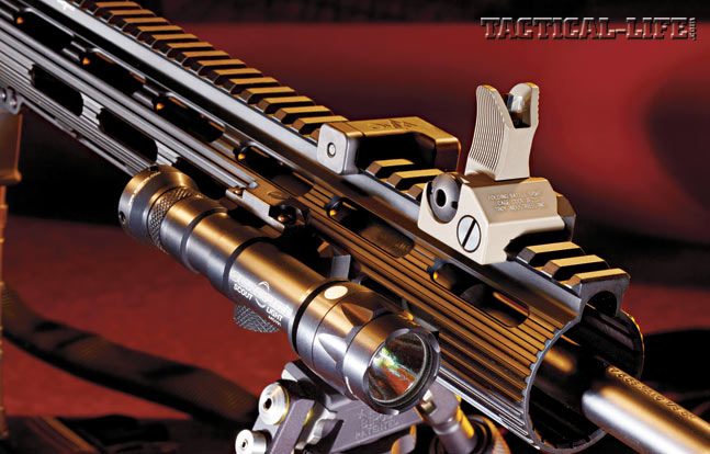 The 13-inch-long, free-floating Troy Extreme TRX handguard features elongated venting slots, and operators can add rail sections where needed.