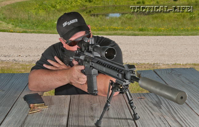 At the range, the author could easily, consistently ring steel at 800 yards with the SIG716 Precision. It also never missed a beat during the evaluation, even with SIG's new silencer installed.