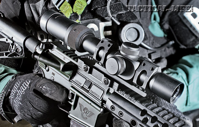 The flattop upper provides plenty of real estate for mounting optics, such as the U.S. Optics 1-8X SR-8C scope, for fast targeting on duty.