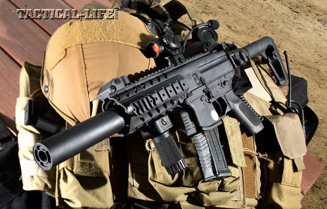 The author's test MPX 9mm, featuring a SIG-SD suppressor mated to the 8-inch barrel, a folding stock, a vertical foregrip and Sig's Mini Red Dot, had already reliably fired over 10,000 rounds of mixed ammo downrange.
