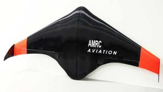3D Printed UAV airframe manufactured by engineers at the University of Sheffield's Advanced Manufacturing Research Center (AMRC)