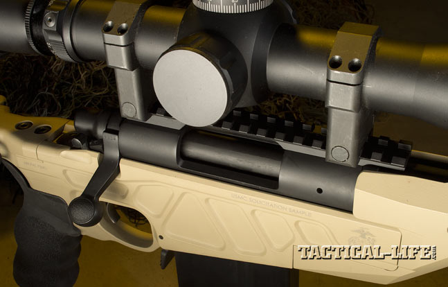 A one-piece scope rail comes standard on the Accurate-Mag AM40A6, and the forend offers plenty of space for mounting night vision.