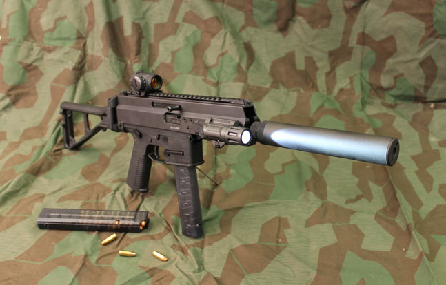 "Swiss firm B&T's pistol-caliber APC ""patrol carbine,"" intended for the law enforcement market, served as the basis for the company's new assault rifle in 5.56mm NATO and .300 Whisper. Note the compact platform's side-folding buttstock."