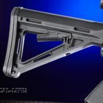 Two Magpul enhancements include the MOE stock and an Ambidextrous Sling Attachment Point (ASAP) held in place by the castle nut.
