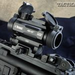 The upper receiver features a top Picatinny rail for mounting sights and optics, such as this Burris AR-1X Prism Sight, for fast targeting.