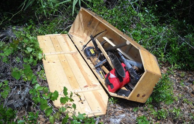 Florida police discovered a cache of unusual weapons inside a coffin (Volusia County Sheriff's Office Image)