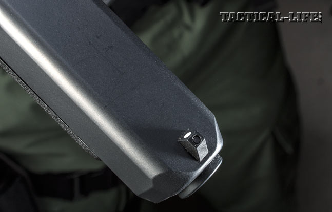 The author's test Glock 41 Gen4 came with a fixed, white-dot front sight.