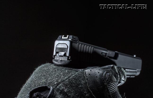 The Glock 41 Gen4's long, surface-hardened slide offers enhanced terminal ballistics as well as a longer sight radius for better accuracy.