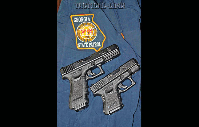 Georgia State Troopers are issued Glock 39s (right) to supplement their G37 service pistols (left). Both fire .45 G.A.P. ammo.