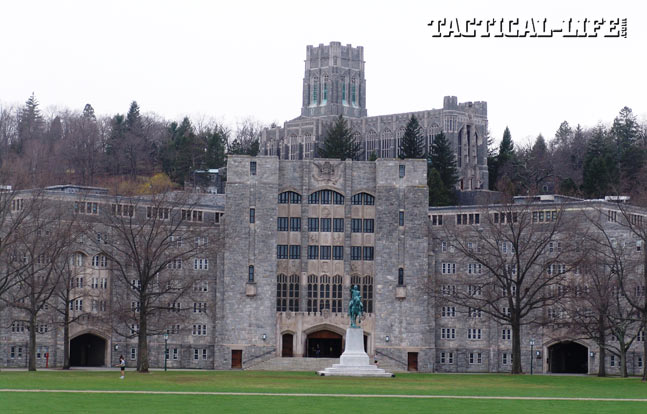 West Point has several historic landmarks, including the statue of George Washington (foreground), Washington Hall (middle ground) and Cadet Chapel in the background above.