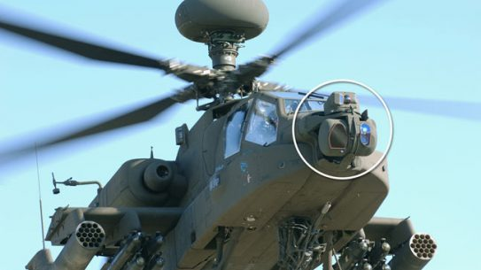Modernized Target Acquisition Designation Sight/Pilot Night Vision Sensor (M-TADS/PNVS) on the AH-64 Apache helicopter.