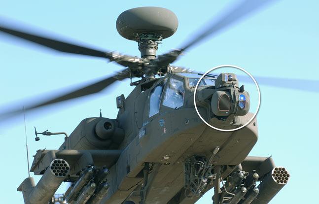 Modernized Target Acquisition Designation Sight/Pilot Night Vision Sensor (M-TADS/PNVS) on the AH-64 Apache helicopter.