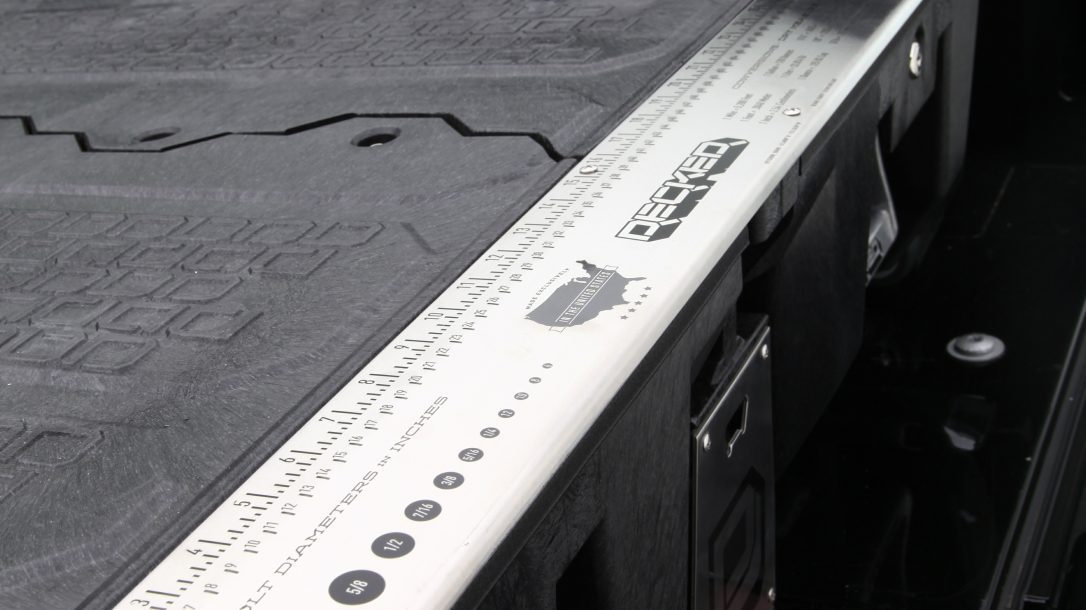 DECKED Truck Bed Storage System ruler