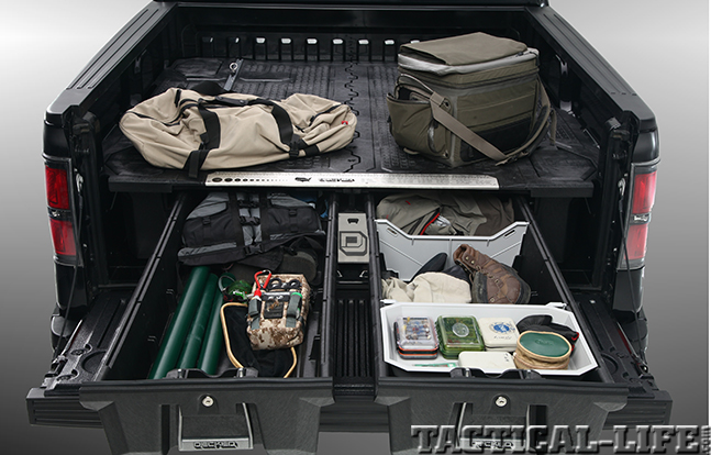 Decked truck bed storage system for Truck fishing accessories