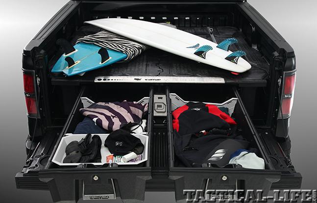 DECKED Truck Bed Storage System surfing