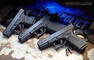 From left to right: Glock 27 Gen4, Glock 22 Gen4, Glock 23 Gen4 in .40 S&W