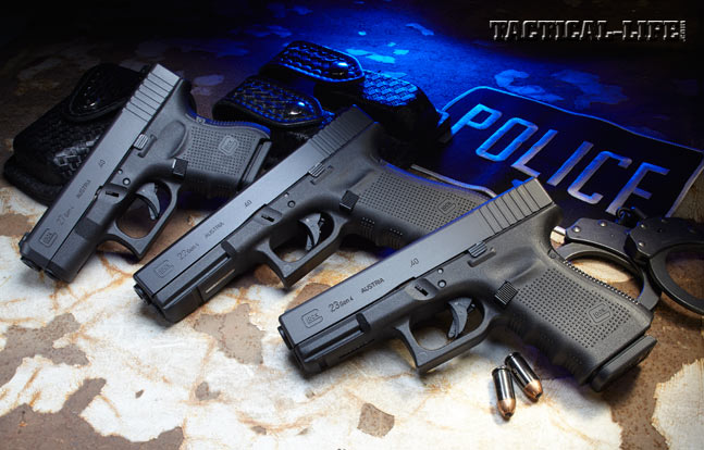 From left to right: Glock 27 Gen4, Glock 22 Gen4, Glock 23 Gen4 in .40 S&W