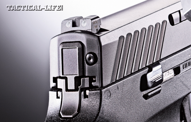 The P320 is a hammerless design that features a striker-fired system in its place. Note the SIGLITE night sights.