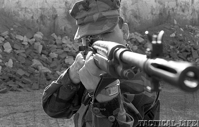 U.S. M14 Battle Rifle aim