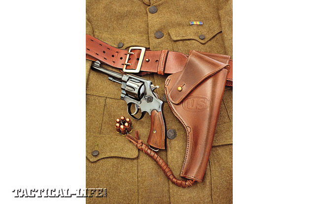 Shown with a WWI-era Sam Browne belt (by John Bianchi) and a vintage S&W Model of 1917 revolver, World War Supply's U.S. M1917/1942 revolver holster is true to the original U.S. military design.